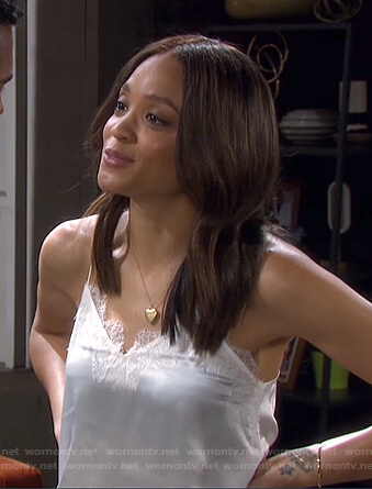 Lani's white lace-trim cami on Days of our Lives