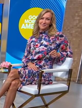 Lara's floral asymmetric ruffled dress on Good Morning America