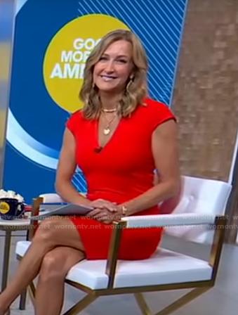 Lara's red v-neck cap sleeve dress on Good Morning America