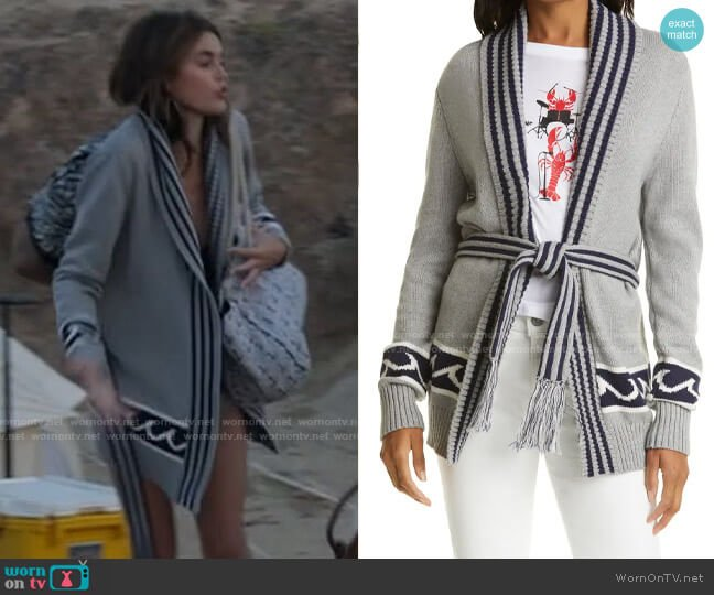Le Superbe White Caps Cardigan  worn by Kendall (Kaia Gerber) on American Horror Story