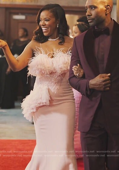 Leah's pink ruffled gown on Our Kind of People