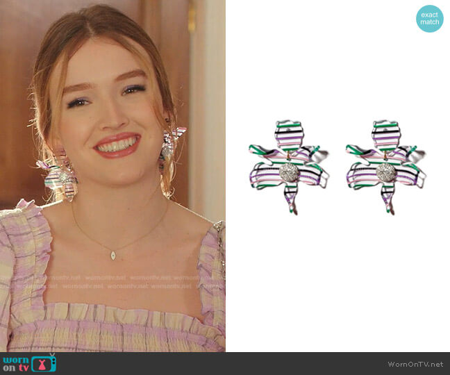 Crystal Lily Drop Earrings by Lele Sadoughi worn by Kirby Anders (Maddison Brown) on Dynasty