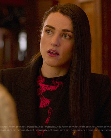 Lena's black and red floral top on Supergirl
