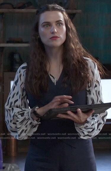 Lena's white brushstroke print blouse on Supergirl