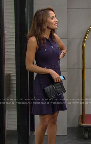 Lily's navy buttoned dress on The Young and the Restless