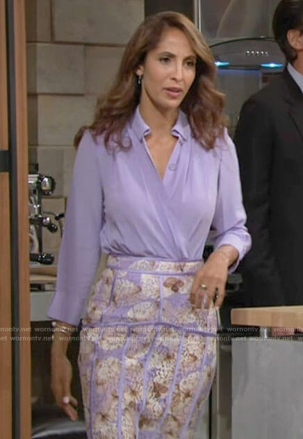 Lily's purple blouse and butterfly print pencil skirt on The Young and the Restless