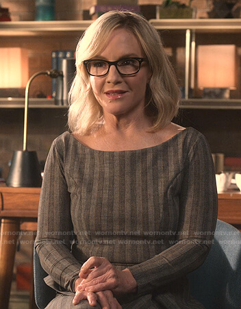 Linda's grey striped top and skirt on Lucifer