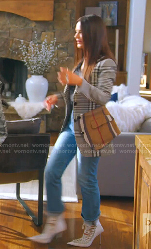 Jen's white bee embellished bag on The Real Housewives of Salt Lake City
