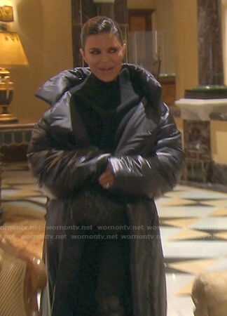 Lisa's black puffer long coat on The Real Housewives of Beverly Hills