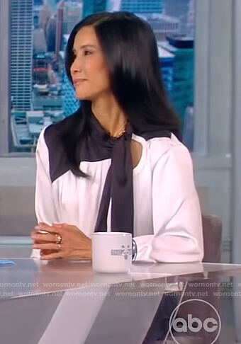 Lisa Ling's contrast tie neck dress on The View
