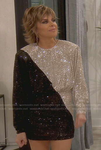 Lisa's sequin two-tone dress on The Real Housewives of Beverly Hills
