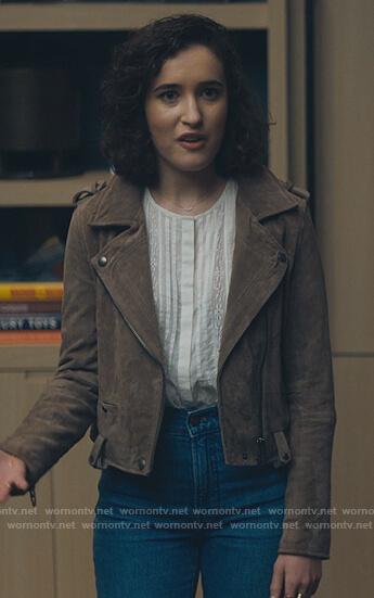 Gail's brown suede moto jacket on Billions