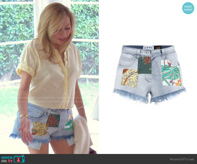 Paula's Ibiza High-Rise Denim Shorts by Loewe worn by Sutton Stracke  on The Real Housewives of Beverly Hills