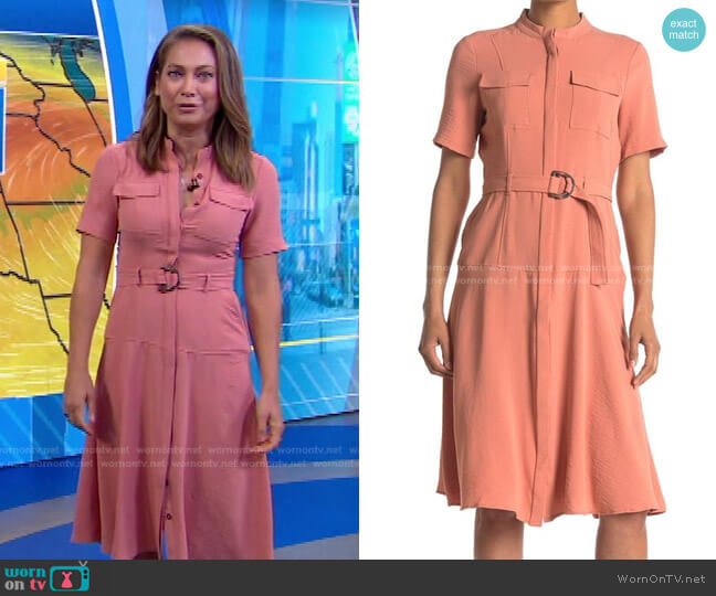 Airflow Crepe Shirtdress by London Times worn by Ginger Zee  on Good Morning America