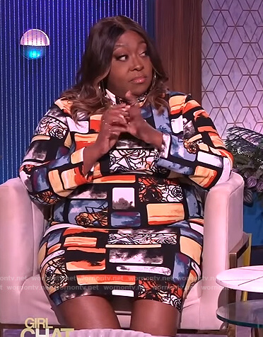Loni's abstract print dress on The Real