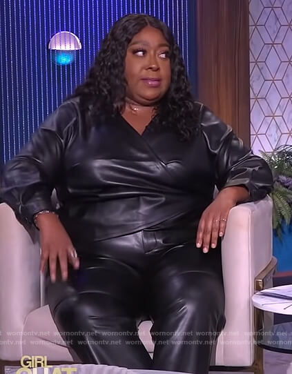 Loni's black leather wrap top on The Real