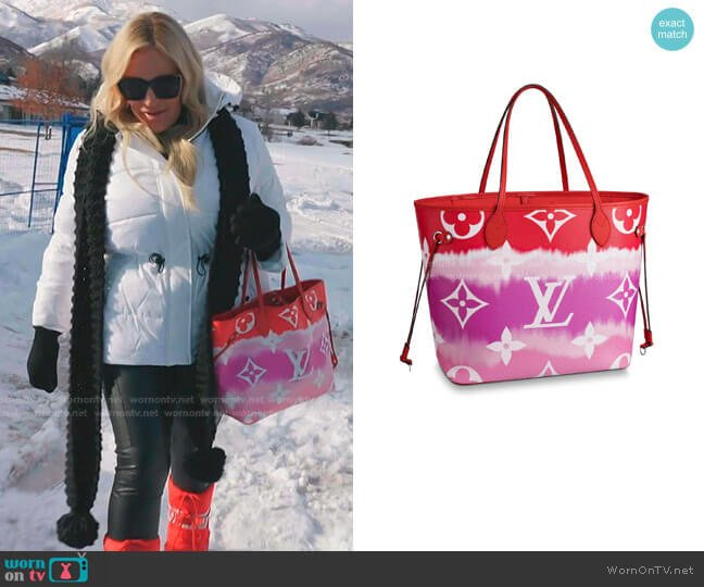 LV Escale Neverfull Bag by Louis Vuitton worn by Heather Gay  on The Real Housewives of Salt Lake City