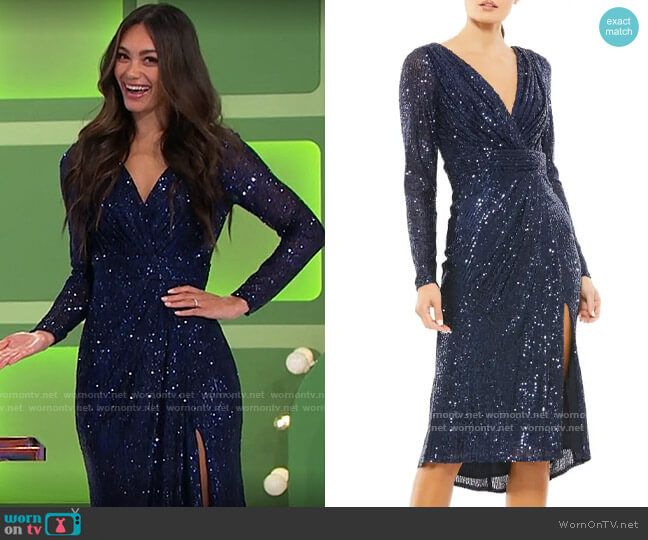 Ieena for Mac Duggal Shimmery Sequin Long-Sleeve Faux-Wrap Dress worn by Alexis Gaube  on The Price is Right