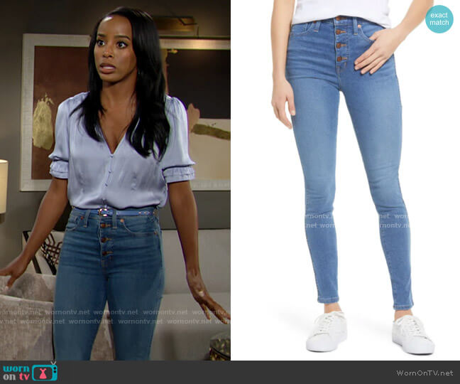 Madewell Button Front High Waist Skinny Jeans worn by Imani Benedict (Leigh-Ann Rose) on The Young & the Restless