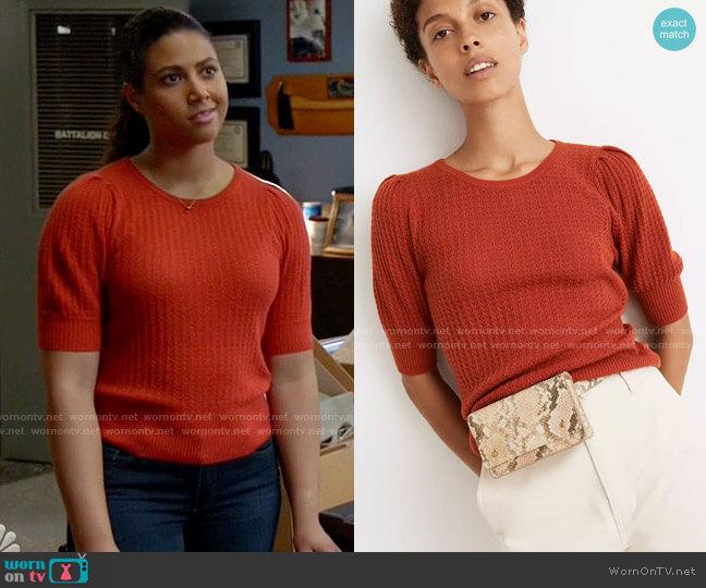 Madewell Pointelle Puff-Sleeve Sweater Tee worn by Kylie Estevez (Katelynn Shennett) on Chicago Fire
