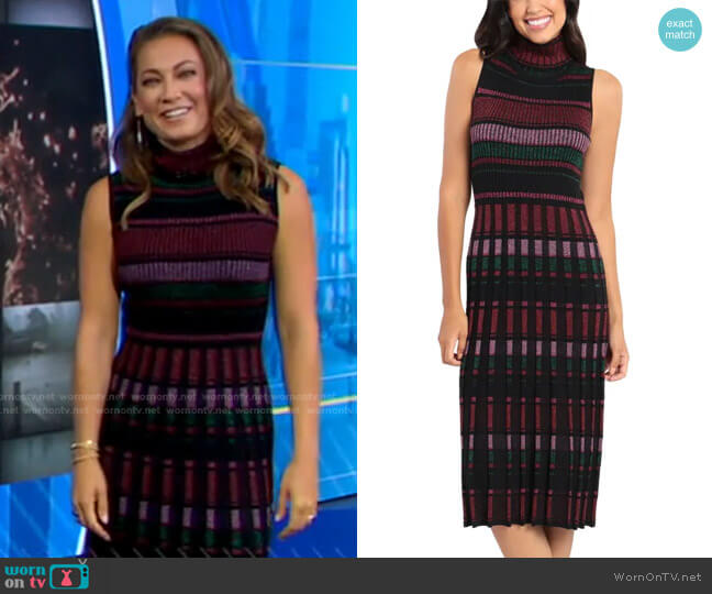 Mock Neck Midi Sweater Dress by Maggy London worn by Ginger Zee  on Good Morning America