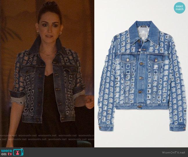 Maison Margiela Distressed cutout denim jacket worn by Tess Van De Berg (Jamie Clayton) on The L Word Generation Q