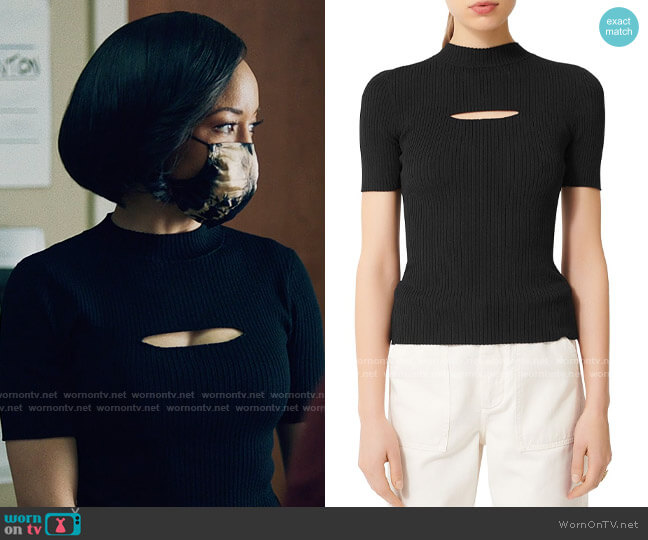 Maje Mouth Cut-Out Ribbed Sweater worn by Charley Bordelon West (Dawn-Lyen Gardner) on Queen Sugar