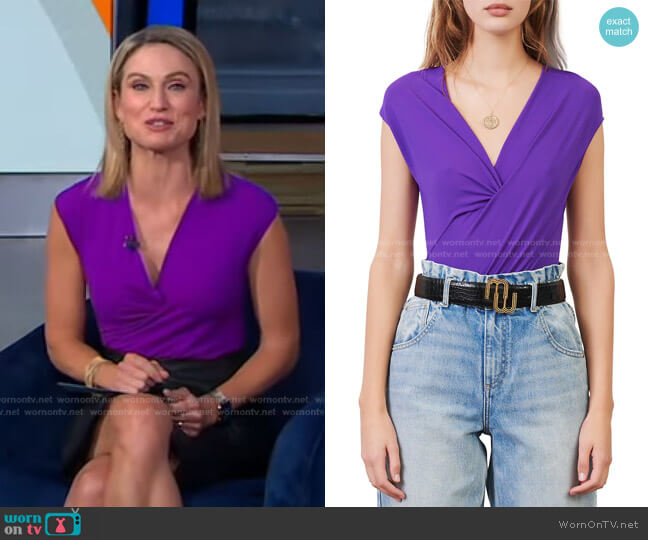 Tender Draped Stretch Bodysuit by Maje worn by Amy Robach  on Good Morning America