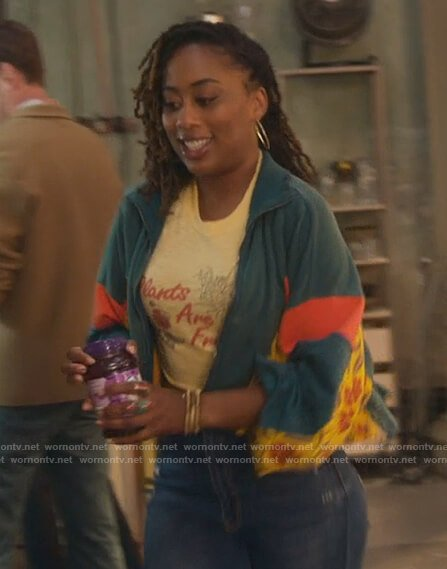 Malika's yellow Plants are Friends tee on Good Trouble