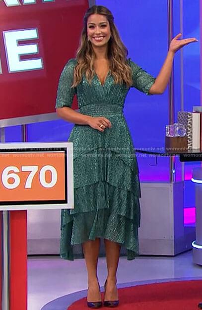 Manuela's metallic green midi dress on The Price is Right