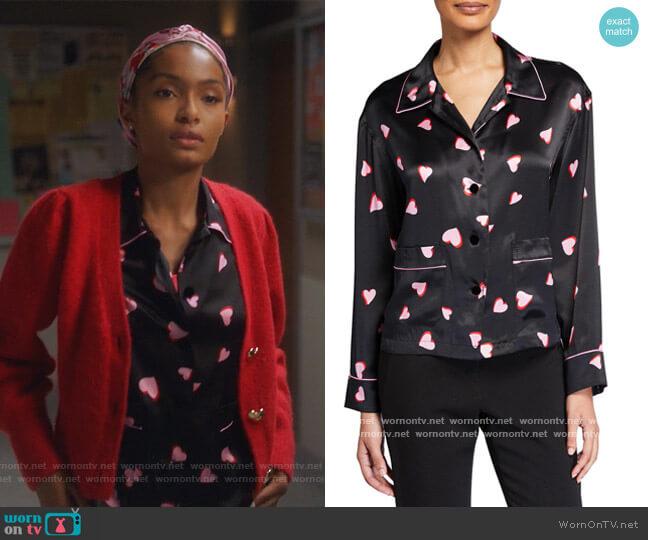 Heart Print Pajama Top by Marc Jacobs worn by Zoey Johnson (Yara Shahidi) on Grown-ish
