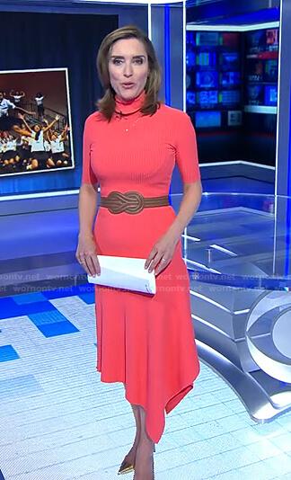 Margaret's pink turtleneck ribbed dress on CBS Evening News
