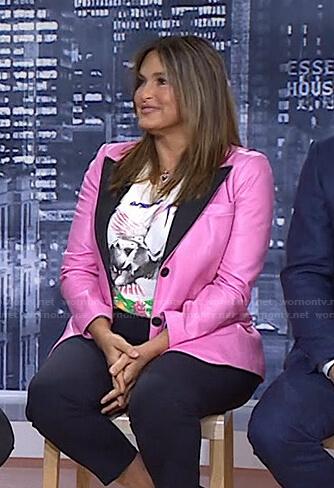 Mariska Hargitay's pink leather tuxedo blazer on Today