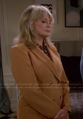 Marlena's camel double breasted blazer on Days of our Lives: Beyond Salem