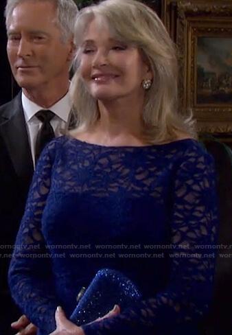 Marlena's blue lace dress on Days of our Lives: Beyond Salem