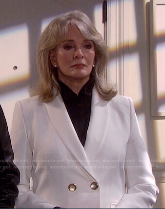 Marlena's white double breasted blazer on Days of our Lives: Beyond Salem