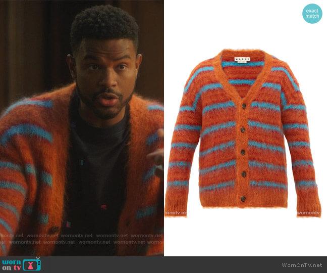 Striped mohair-blend cardigan by Marni worn by Aaron Jackson (Trevor Jackson) on Grown-ish