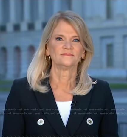 Martha Raddatz's navy double breasted blazer on Good Morning America