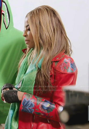 Mary's red floral peplum moto jacket on The Real Housewives of Salt Lake City