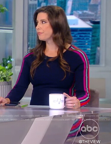 Mary Katharine Ham's blue dress with side stripes on The View