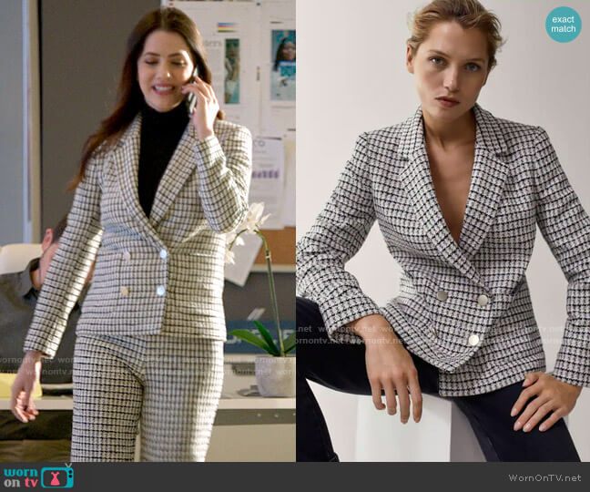 Massimo Dutti Double Breasted Check Blazer worn by Andrea Rojas (Julie Gonzalo) on Supergirl