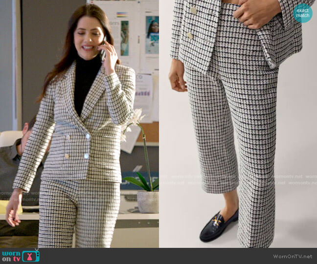 Massimo Dutti Straight Fit Check Trousers worn by Andrea Rojas (Julie Gonzalo) on Supergirl