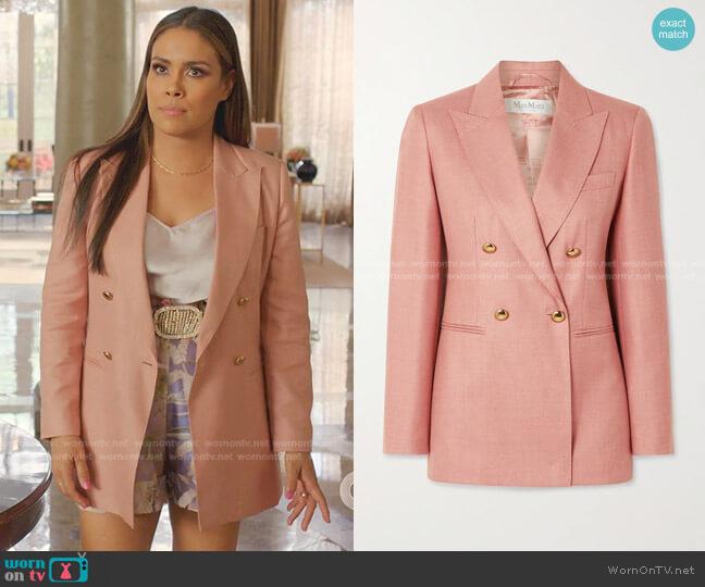 Lamine Double-Breasted Twil Blazer by Max Mara worn by Cristal Jennings (Daniella Alonso) on Dynasty