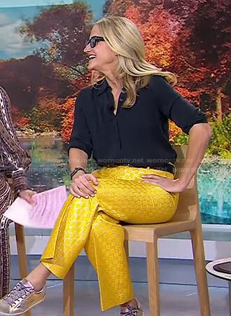 Mel Robbins's yellow metallic pants on Today