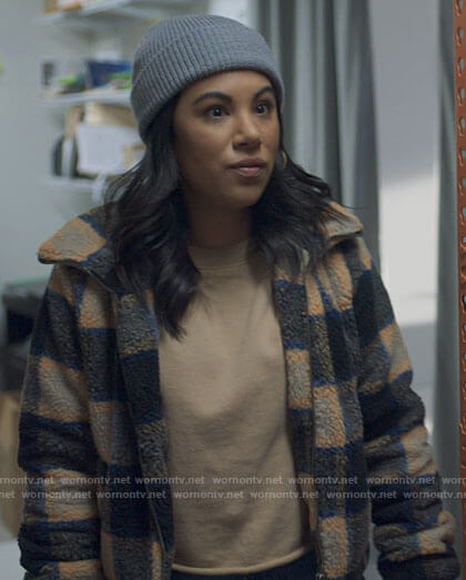 Melanie's checked teddy jacket on Awkwafina is Nora From Queens