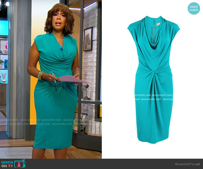 Michael Kors Collection Sleeveless Cowl-Neck Jersey Dress worn by Gayle King  on CBS Mornings