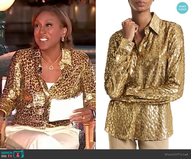 Hansen Metallic Leopard-Jacquard Shirt by Michael Kors worn by Robin Roberts  on Good Morning America
