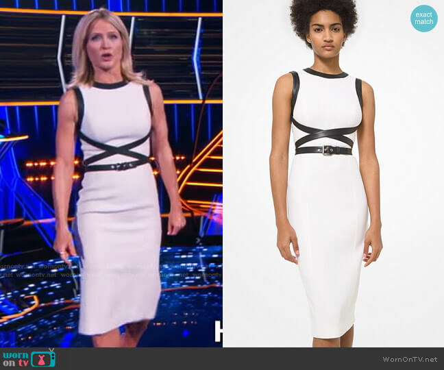 Leather Trim Stretch Bouclé Crepe Sheath Dress by Michael Kors worn by Sara Haines  on The Chase