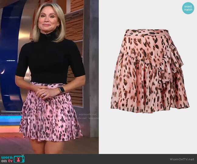 Heidi Leopard Miniskirt by Milly worn by Amy Robach  on Good Morning America