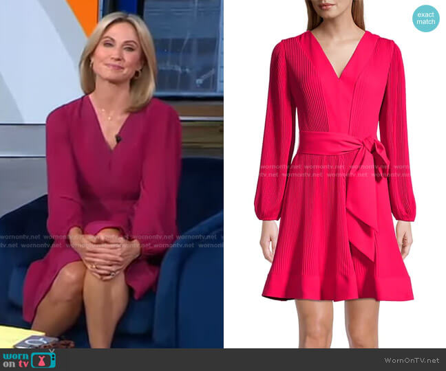 Knit Pleat Fit-&-Flare Dress by Milly worn by Amy Robach  on Good Morning America